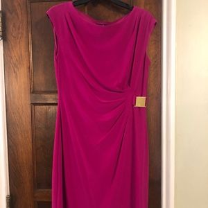 Pink Gathered side Cocktail Dress